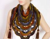 crochet shawl scarf crocheted capelet wrap ,triangle scarf shawl