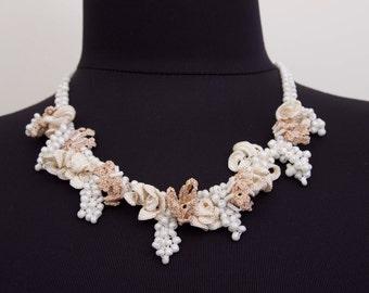 Beaded necklace ,oya necklace , crochet oya necklace ,