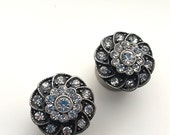 "16mm 5/8"" Dark Vintage Rhinestone Plugs - Wedding Prom Formal 316L Surgical Stainless Steel Double Flared Plugs for Stretched Ears- Gauges"