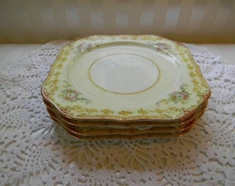 4 Antique Noritake China, LISMORE, 4 Square Luncheon Plates, 1935