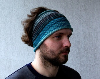 Knitted Mens Headband Guys knit hair wrap - blue turquoise grey dreadlocks accessory Unisex Adults Dread band