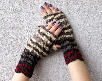Fingerless Gloves Knitted Arm Warmers Hand Warmers Fall Mittens Women Gloves Herb Garden Mitts Fingerless Mittens Handmade gloves