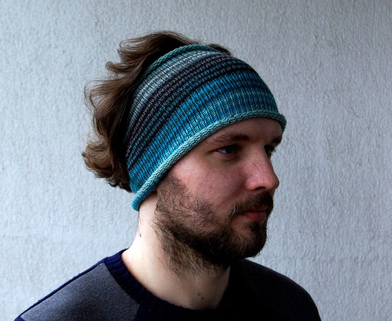 Knitted Mens Headband Guys knit hair wrap blue turquoise