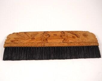 Antique Horse Hair Chinese Wood Brush Signed