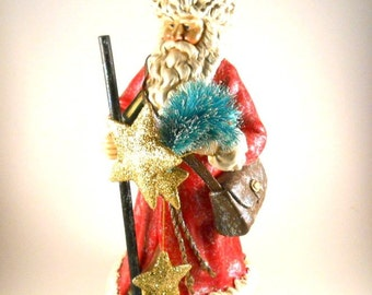Vintage Santa Red Tree White Paper Mache Holiday Christmas Decoration