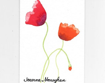 Poppy Note Cards PERSONALIZED for FREE With the Name of Your Coworker, Mom, Mum, Sister...Personalized Stationery Custom Hand-Painted Cards