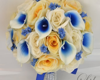 """17 Piece Package Wedding Bridal Bouquet Silk Flowers Bouquets Bride Picasso Calla Lily Royal BLUE IVORY YELLOW """"Lily of Angeles"""" YEBL02"""