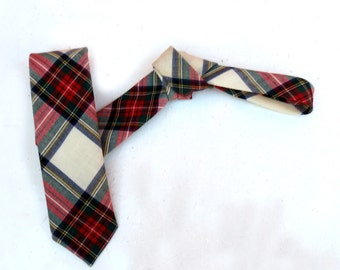 Vintage 1950s 1960s Mod Super Skinny Neck Tie -  Tartan Scottish Plaid Red White Blue green Yellow