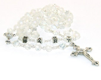 Personalized Rosary, First Communion Rosary with Your Choice of Name, Frosted Crystal beads