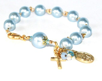 Rosary Bracelet, Blue Crystal Pearls with Saint Michael & Guardian Angel Medal