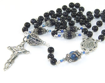 Our Lady of Lourdes Rosary, Renaissance Style Design, Goldstone & Filigree beads
