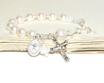Baby's Baptism Bracelet, Holy Spirit & Holy Family Medal / Swarovski® Pearls