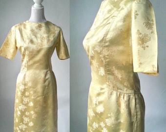 Vintage Dress, 1950s Dress, Gold Vintage Dress, 50s Gold Dress, 1950s Silk Dress, 1950s Silk Damask Dress, Vintage Damask Dress, Retro 50s