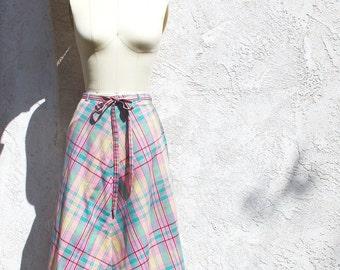 Vintage 70s Wrap Skirt, Pastel Plaid Skirt, Cotton Skirt, 1970 Skirt
