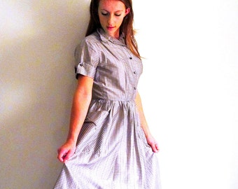 Vintage 50s Shirtwaist Dress, Silver Gray Dress, Classic Cotton Dress,  Lucy Dress