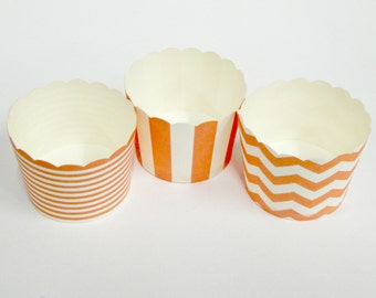 Cupcake Baking Cups, 20 Peach Baking Cups, Candy / Nut Cup, Baking Cups, Ring Stripe, Vertical Stripe, Chevron, Muffin Liners, Cupcake