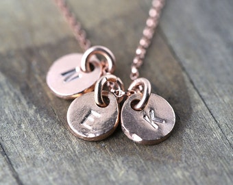 Personalized Mom Necklace in Rose Gold Vermeil / Gift for Women / Initials Hand Stamped Coin Discs Monogram Jewelry