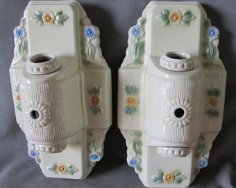 Nice Pair c1920s Art Deco Porcelain Light Fixtures