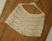 SALE - Ivory Wrap, Capelet - lace crochet - merino, silk, cashmere - READY to SHIP