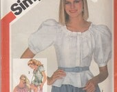 """Womens 1980's Sewing Pattern Simplicity 5850 Peasant Style Blouse Size 10 Bust 32.5"""" Waist 25"""" - UNCUT"""