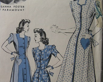 Fabulous Vintage 40s Misses' HOLLYWOOD DRESS Or HOUSECOAT Pattern