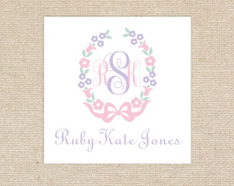 "25 Floral Monogram 3""x3"" Enclosure Cards"