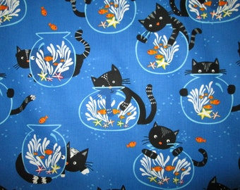 Cats Fish Bowl Blue Cotton Fabric Fat Quarter Or Custom Listing