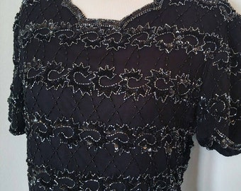 Beaded And Scalloped  Black Top