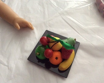 Doll Play Food Fruit Assortment w/Plate - sized for American Girl or Similar