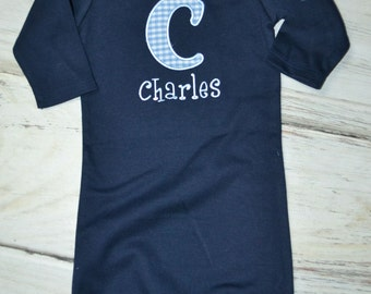 Applique Initial and Name Infant Gown