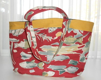 SALE: Fish Print Lined Tote