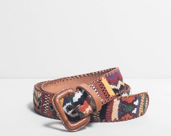 34| Brown Leather & Woven Cotton Guatemalan Made Belt