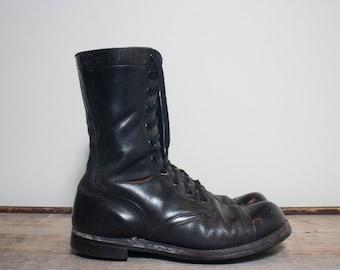 10 1/2 R   Vintage 1960's Cap Toe Jump Boots Black Military Combat Boots