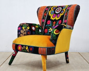 Suzani Armchair - honey mustard