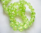 Crackle Glass Beads  Spring Green 8MM
