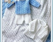 PDF Knitting Pattern for Matinee Jacket, Shawl, Sweater and Shorts - Instant Download