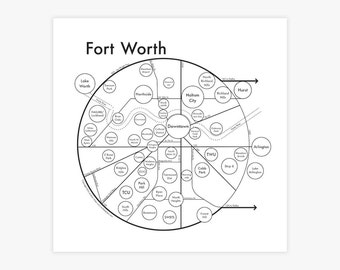 "Fort Worth Screenprint 17.5""x17.5"""
