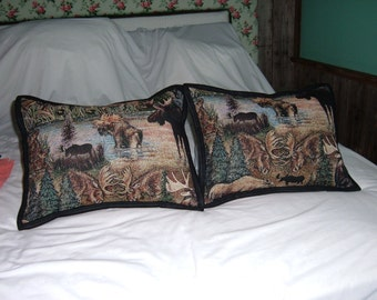 2 Small Moose Tapestry  Pillows