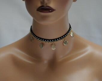 SALE - Choker, Black and gold coin, Dangling choker, Black and dangling gold color coin, Studded Black choker, Gift for her