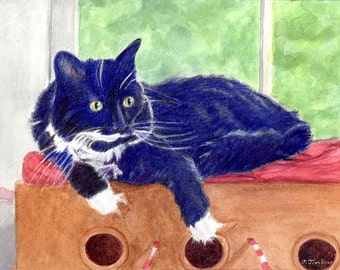 Black and White Cat Art, Black and White Cat Print, Tuxedo Cat Art, Cat Print, Cat Watercolor, Cat Wall Art from Painting by P. Tarlow