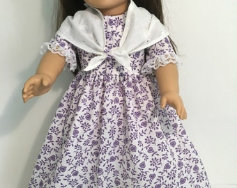 "18"" American Girl Doll Dress, Vintage style, Shawl, Pantaloons"