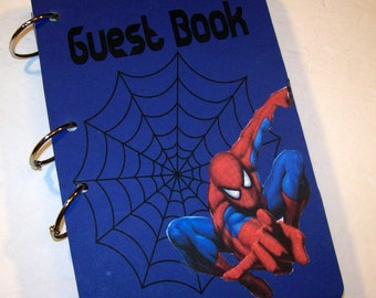 Spiderman Birthday, Guest Book, Sign in Book, Spiderman Party,  Party Sign in Book, Superhero Birthday Guest Book, Spiderman Party Decor