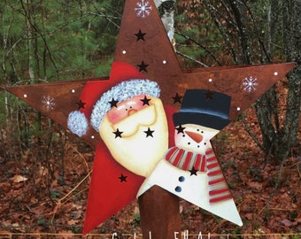 Snowman and Santa Christmas star tree topper, Rusty tin star, hand painted, country christmas,  Christmas, Santa , Snowman