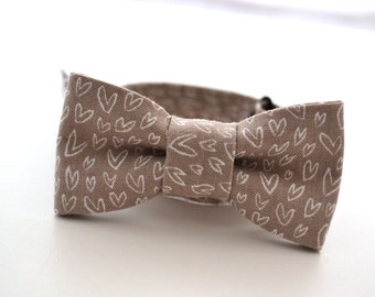 Infant Bow Tie in Taupe With Hearts, Valentines Day Outfit, Newborn Bow Tie, Children's Bow Ties