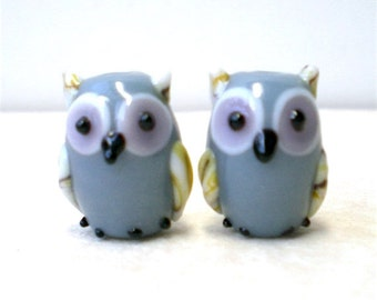 2, 10 pieces Gray Owl Beads, Lampwork Glass Birds, Animal