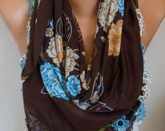 Turkish Anatolians Floral Cotton Scarf,Summer Scarf, Cowl Scarf Shawl Gift Ideas For Her Women Fashion Accessories Bridesmaid Gift
