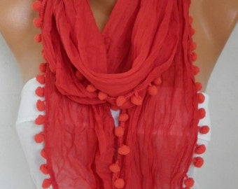 Red Asimetric Pompom Scarf, Shawl,Spring Summer Scarf,Beach Wrap,Pareo,Easter Cowl Gift Ideas For Her Women Fashion Accessories