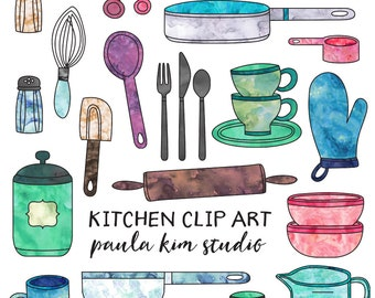 Digital Download Kitchen Clipart, Commercial Use Kitchen Clip Art Instant Download, Cooking Watercolor Clipart