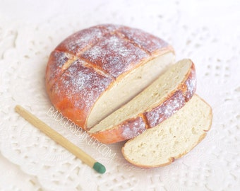Miniature BREAD LOAF, Partially Sliced, 1/12, 1/6, 1/4, 1/3 Scale, Fake Mini Food for Dolls, BJD, Dollhouse