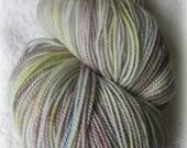 Sock yarn sparkle knit hand dyed merino yarn wool Pathway Grey green blue mauve aqua 100g